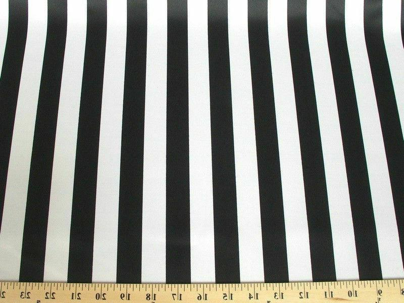"25 Black & White 60"" Wide Stripe Satin Quality USA Seller"