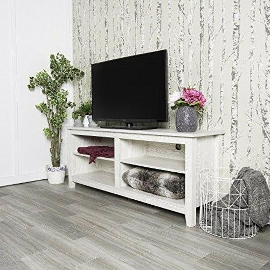 58 inch wide white wash finished television