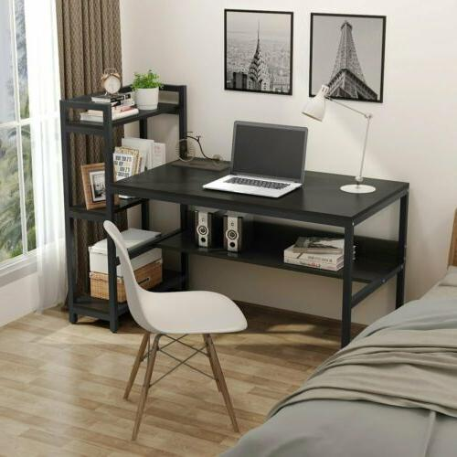 60 Desk with 4-Tier Bookcase,Workstation For Study Room