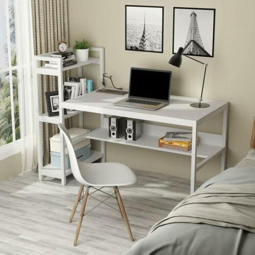60 Compact Computer Desk with 4-Tier Bookcase,Workstation For