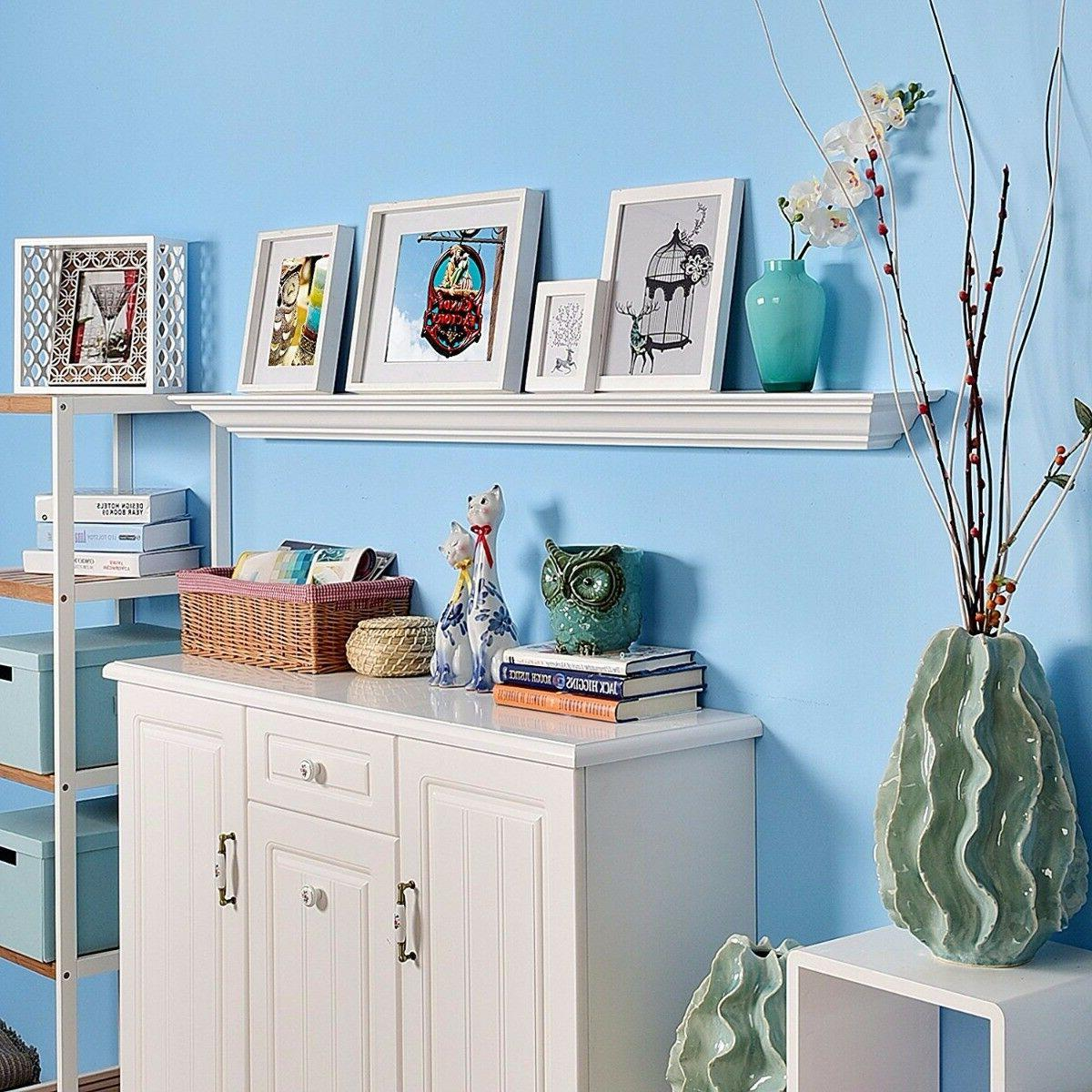 60 Crown Floating Wall Shelf Painted White, Fireplace -