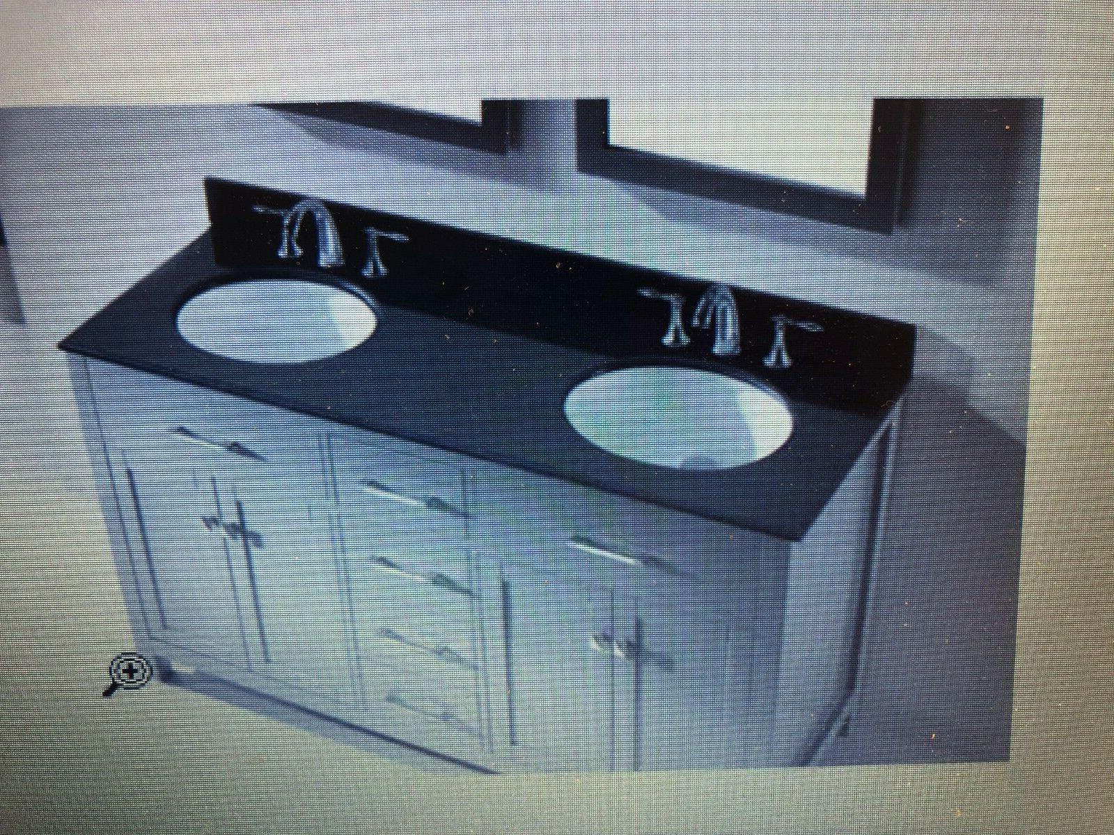 60 inch double sink black granite bathroom