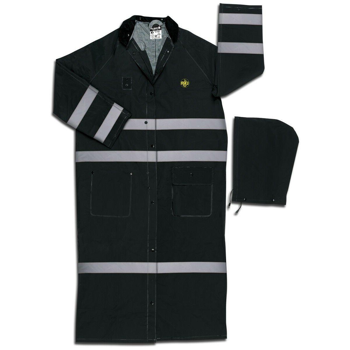 60 inch reflective raincoat with detachable hood