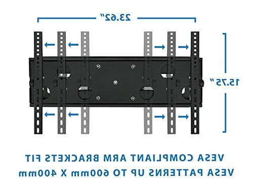 Mount-It! Motion TV Wall Mount 18'', wood studs, Fits - LCD LED Plasma flat screen curved to 165 lbs; INCLUDES HDMI Cable