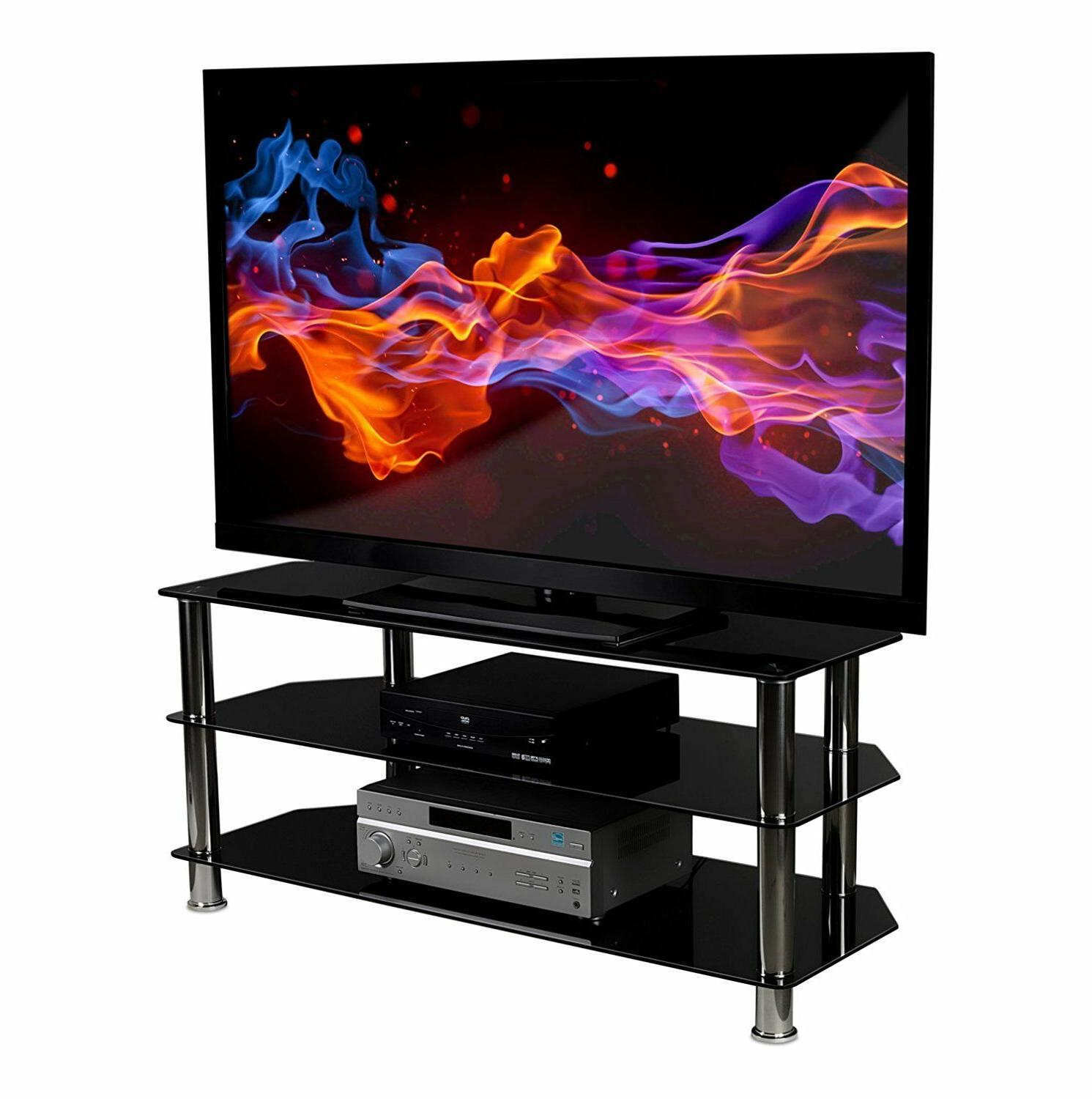 Mount-It! Glass TV Media Stand 3 Tempered Shelves to 60