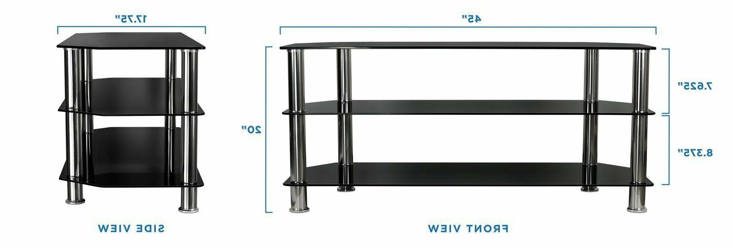 Mount-It! TV Stand Tempered Shelves Up to Inches