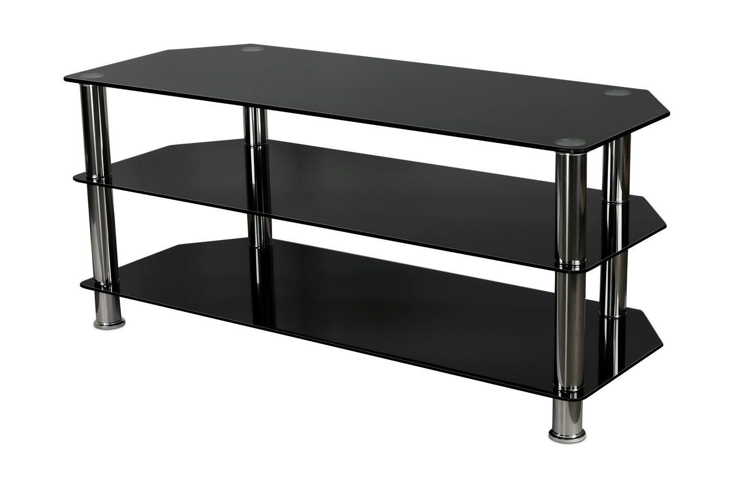 Mount-It! Glass TV Media Stand 3 Tempered Glass Shelves For