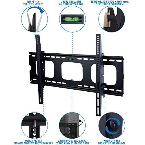 Mount-It! Tilting TV Mount For Samsung Sony Vizio Panasonic TCL 42 50 60 VESA 400x400 750x450 Compatible Premium Tilt 175
