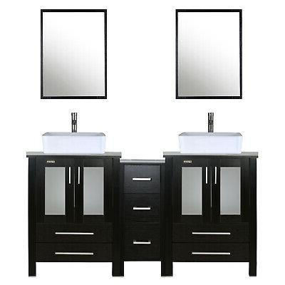 bathroom vanity w side table 60 inch
