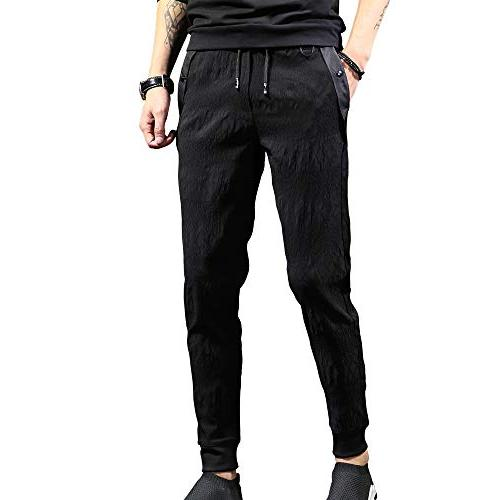 CNMUDONSI Black Men's Loose Fit Casual Youth Pants in Sale