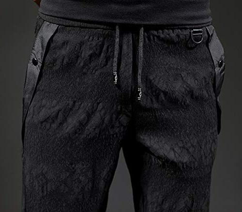 CNMUDONSI Black Cargo Men's Fit Slim Casual Youth Pants in