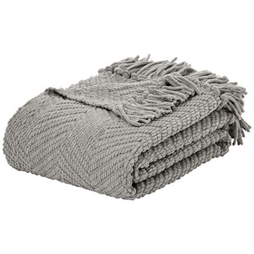 chunky knitted fringed blanket