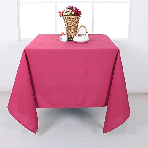 Deconovo Decorative Wrinkle Square Tablecloth for Room Inch Red