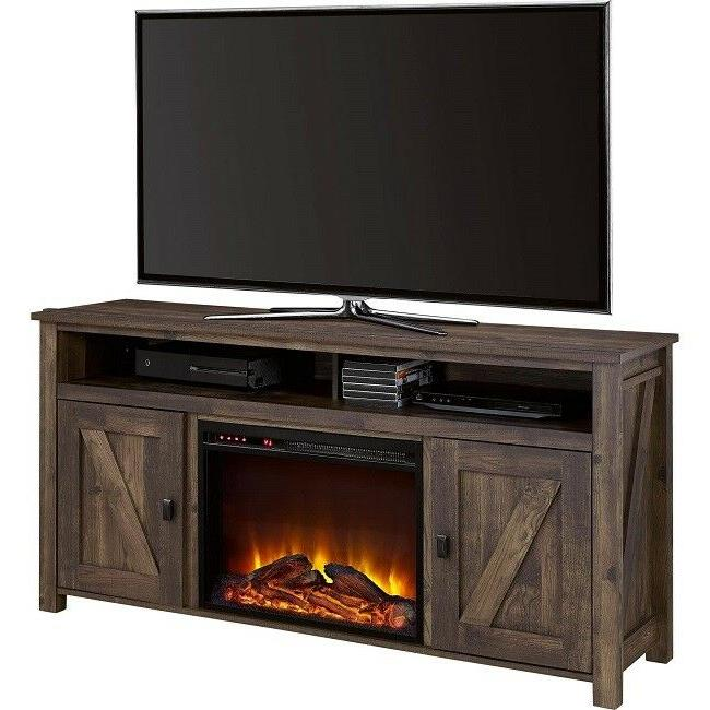 Electric Fireplace Stand 60 Console Barn Oak