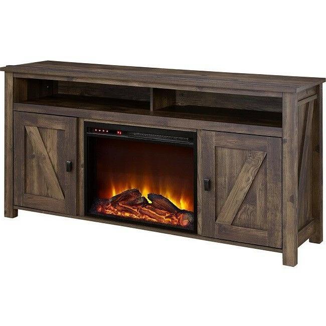 Electric Fireplace 60 Inch Console Rustic Oak