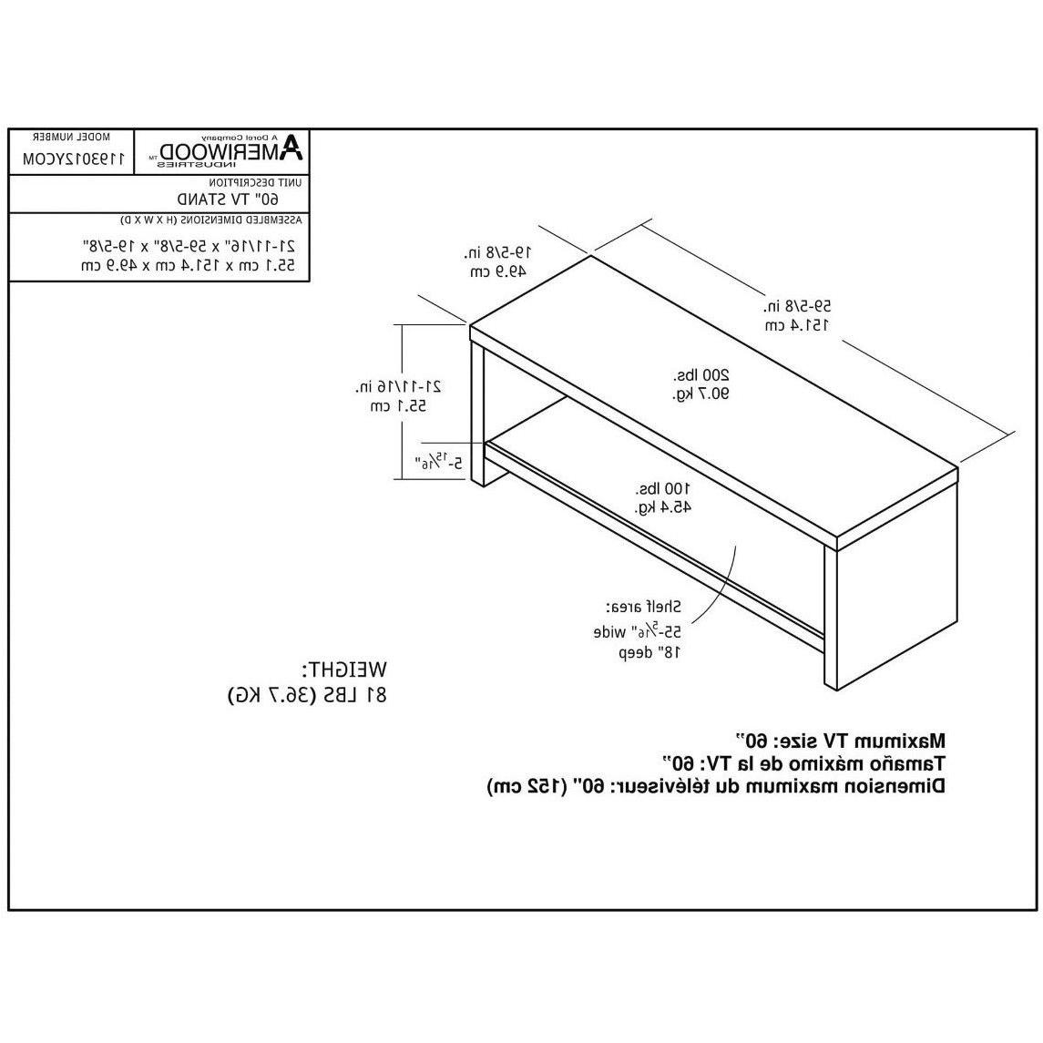 Flat Screen TV Stand 60 Inch Entertainment Wood AV Console