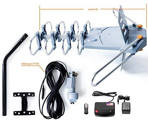 McDuory Outdoor Digital Rotation Antenna -Support Infrared - RG6 and Pole Included