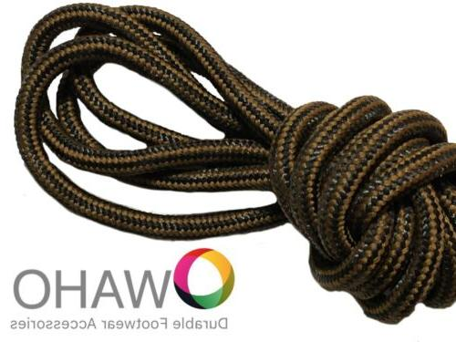 Heavy Duty Chestnut / Black  Shoe / Boot Laces Made with Bla