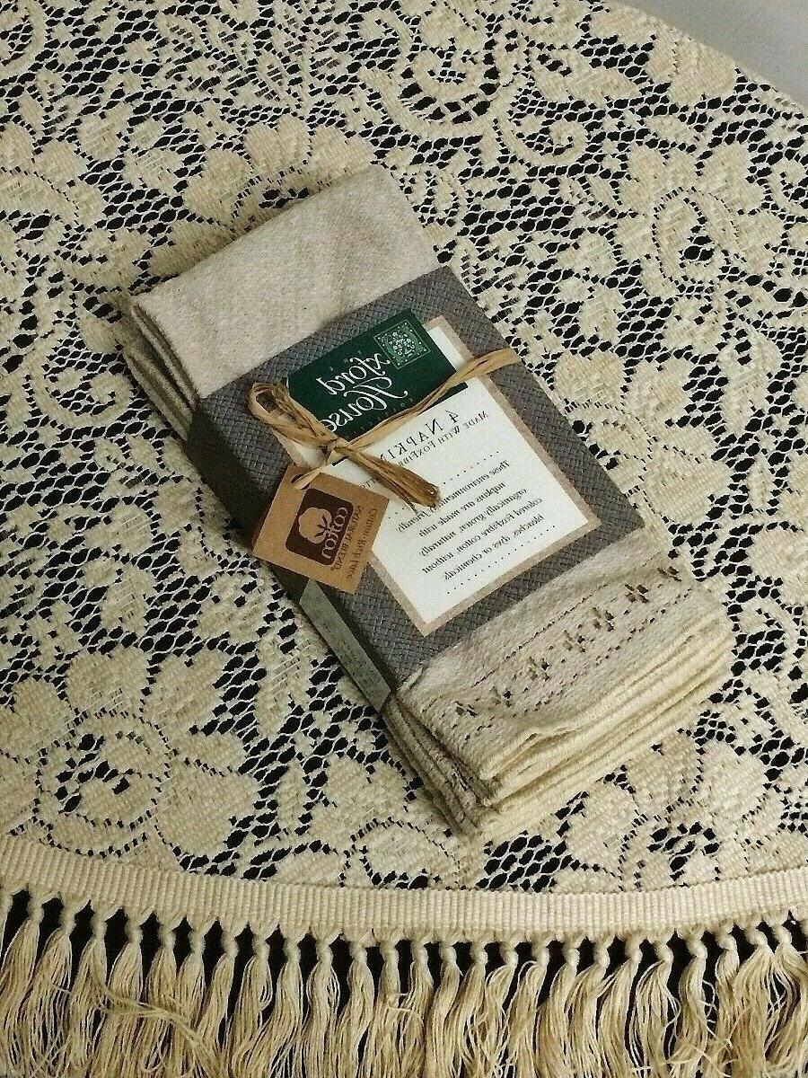 Lace Tablecloth inch Round Napkins Natural Organic Cotton Rose