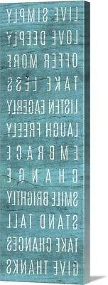 Live Simply Teal Canvas Wall Art Print, Inspirational Home D