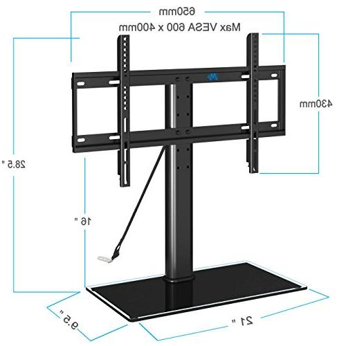 Mounting MD5109 table top stand with anti-tip 3 height glass base most Plasma, LED, TVs Max 600x400mm