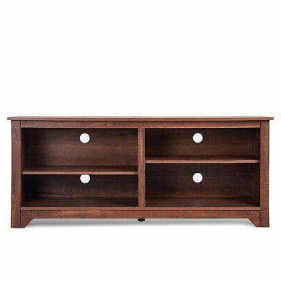 Medium Brown Wood TV Stand Entertainment up to TV