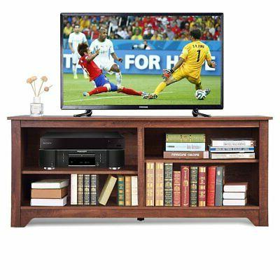 Medium Brown Wood TV Stand Entertainment up to