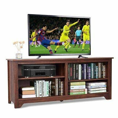 medium brown wood tv stand entertainment center