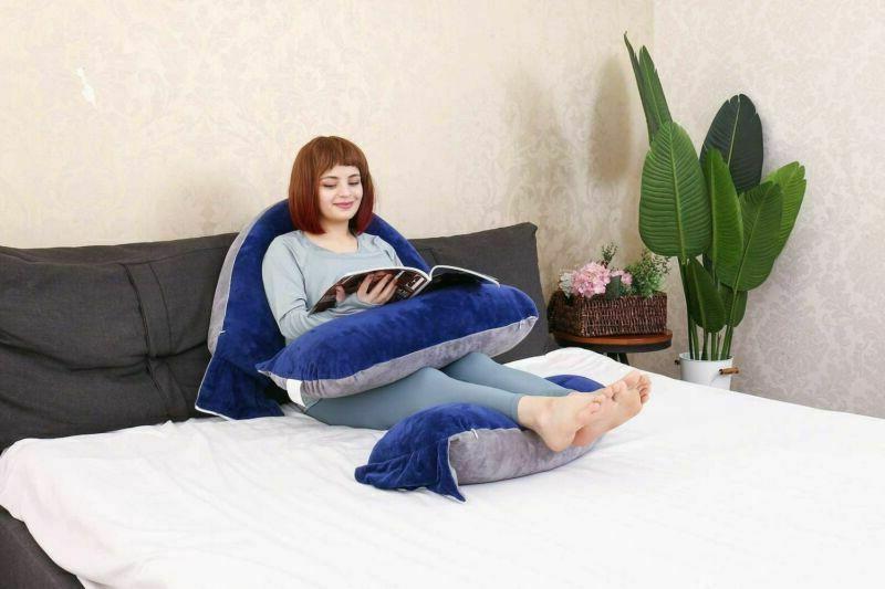 MOON PINE Pregnancy Pillow, Detachable U Shaped Blue Grey