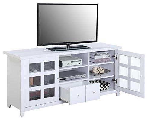 Convenience Newport Lane TV Stand, White