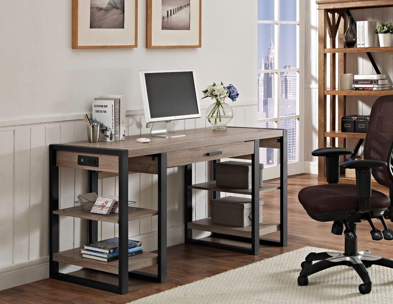 office wide computer desk driftwood