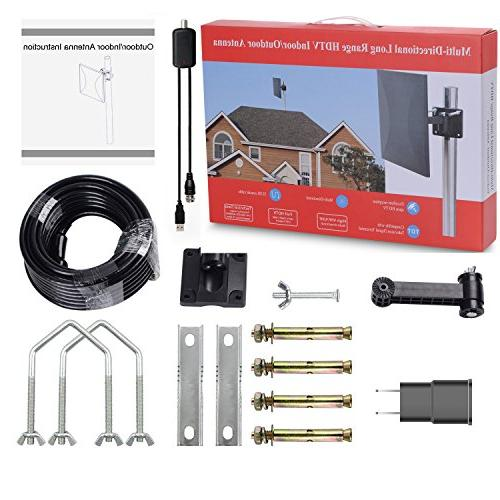 Omni-Directional Outdoor Amplified Digital Miles Range with Powerful HDTV Amplifier Booster Support & All for Outdoor, 32ft