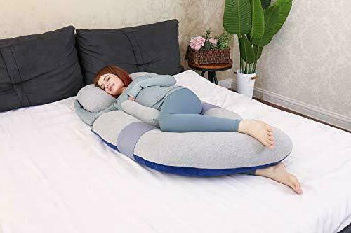 MOON PINE 60 Pregnancy Pillow, Detachable U Grey&blue-velvet&jersey