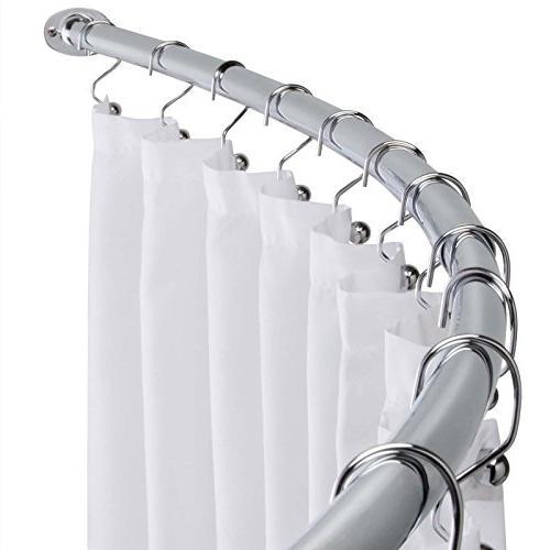 polished chrome adjustable bathroom curved