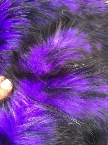 Purple/black Husky Faux Fur, 2 Tone Shaggy Fur. Sold By The