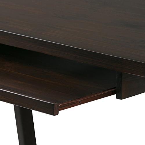 Simpli Solid Wood Desk, Dark Chestnut Brown