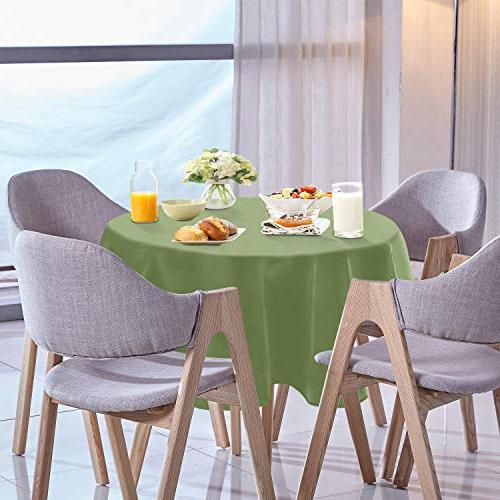YEMYHOM 100% Polyester Spillproof Tablecloths for Tables 60 Inch Outdoor Camping Circle Cloth