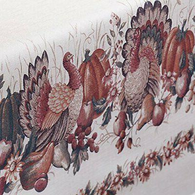Thanksgiving Printed Fabric Tablecloth, 60-Inch-by-120