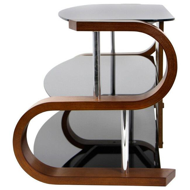 TV Entertainment Modern Dark Wood Glass Curve Inch