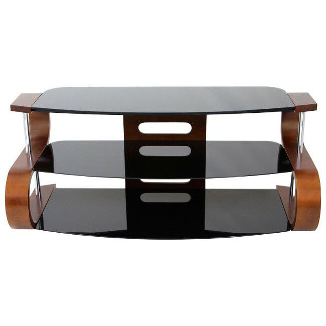 TV Storage Entertainment Wood Glass Curve Inch