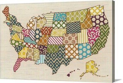 united patterns canvas wall art print map