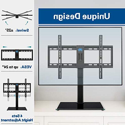 Mounting Stand, Swivel Table TV Stands Mount for 42-60 inch Flat Screen TVs, 4 Height Adjustment Tempered Base, Max VESA 99 with Strap