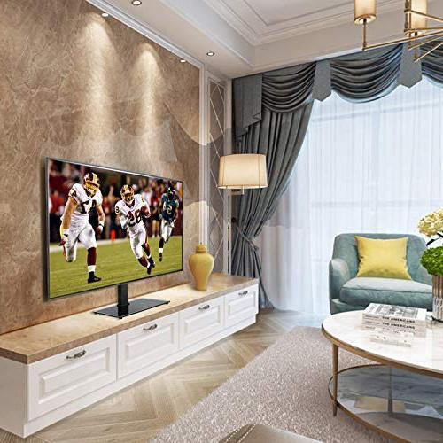 Mounting Dream Universal Stand, Swivel TV for 42-60 Flat Screen Adjustment Glass Base, Max VESA 600x400mm 99 Strap