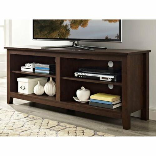 walnut finish tv stand home entertainment media