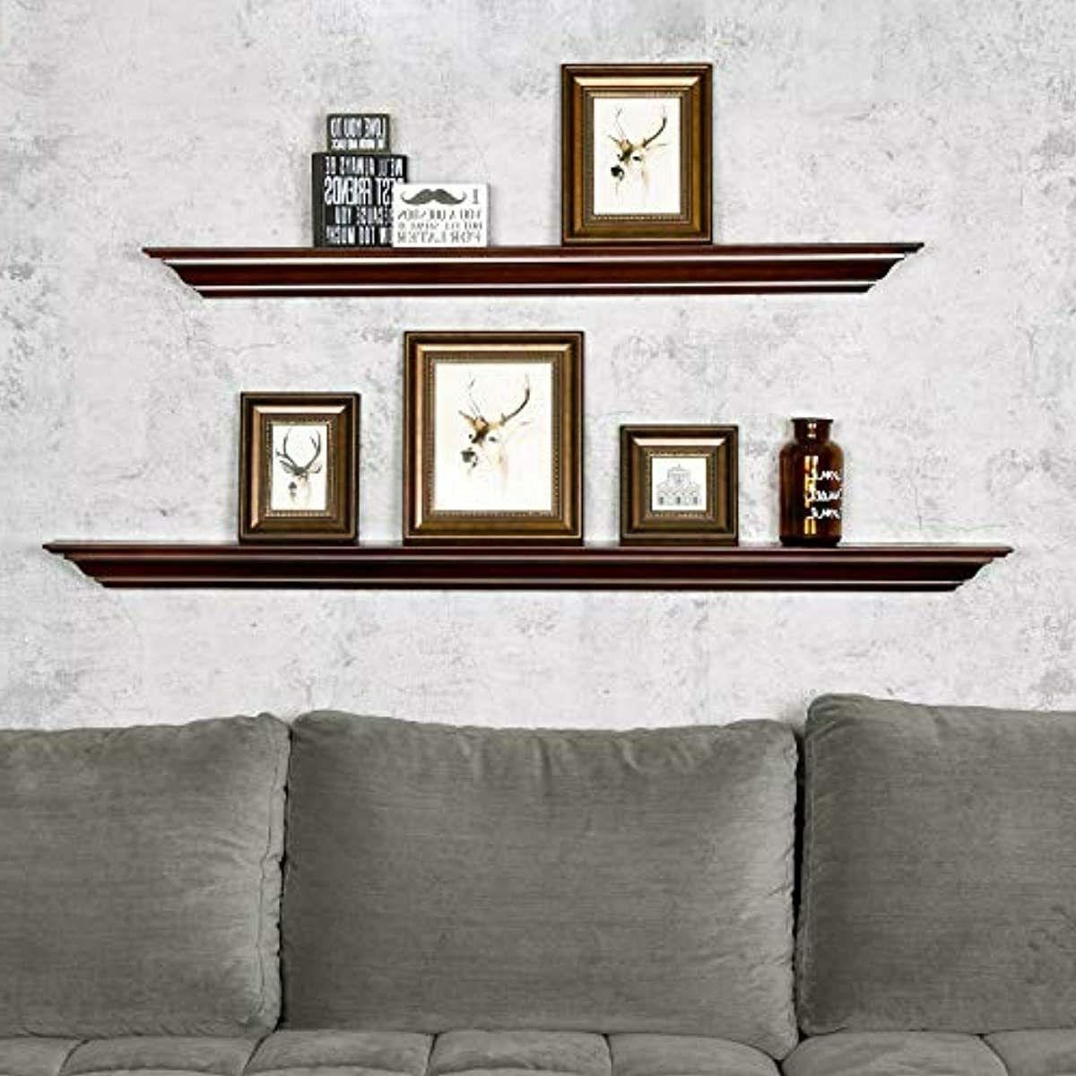 WELLAND Pine Wood Fireplace Mantel Shelf Mounted Corona