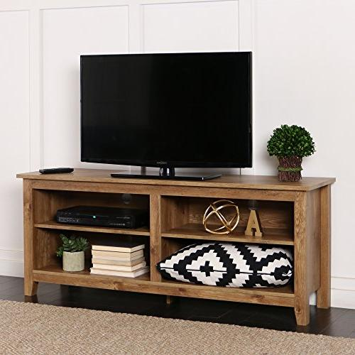 58 Inch Wide Barnwood Finish Television Stand