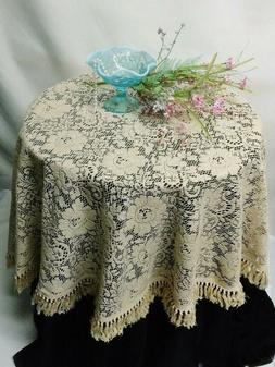 Lace Tablecloth 60 inch Round or Napkins Natural Organic Cot