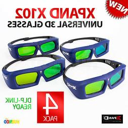 02df276fbfb Editorial Pick LOT of 4 Pack XPAND X-102 3D Glasses DLP-Link Universal Acti