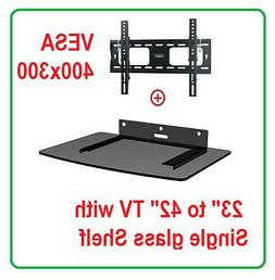Low Profile LCD LED TV Tilt Wall Mount 22-42 with Single Gla