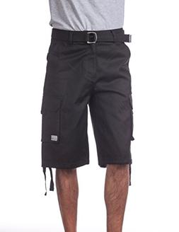 "Pro Club Men's Cotton Twill Cargo Shorts with Belt, 60"", Bla"